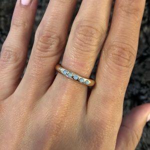 Anthropologie Gold & Light Blue Gem Ring - 7
